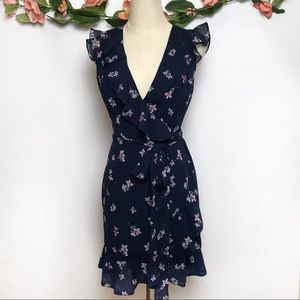 Fame and Partners Blue Floral Wrap Mini Dress